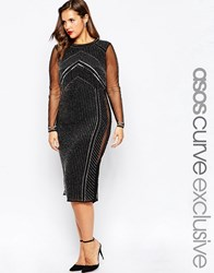 Asos Curve Red Carpet Allure Beaded Dress With Mesh Panel Black