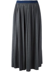 Semicouture Pleated Mid Skirt Grey