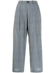 Blue Blue Japan Checkered Flared Trousers Blue