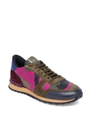 Valentino Camouflage Rock Runner Calf Leather Blend Sneakers Green Pink
