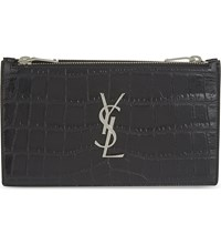 Saint Laurent Monogram Crocodile Embossed Leather Wallet Black
