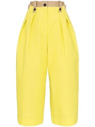 Sacai Contrast Panel Cropped Trousers Neutrals