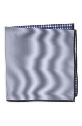 Nordstrom Men's Men's Shop Panel Silk Pocket Square Navy