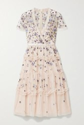 Needle And Thread Prairie Flora Ruffled Embellished Embroidered Tulle Dress Pastel Pink