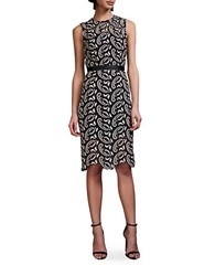 Cynthia Rowley Paisley Lace Fitted Dress Black