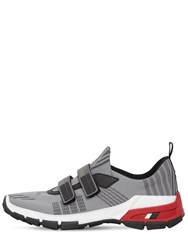 Prada Cross Section Nylon Slip On Sneakers Grey