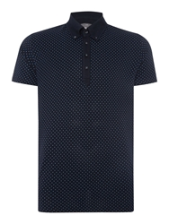 Peter Werth Ritchie Polka Dot Slim Fit Polo Shirt Navy