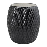 Villari Black Tie Waste Basket Black