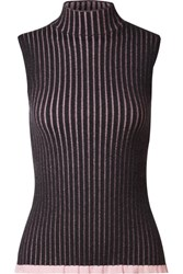 Burberry Striped Ribbed Cashmere And Silk Blend Turtleneck Top Charcoal