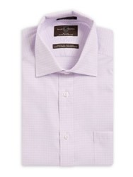 Black Brown Checkered Classic Fit Cotton Dress Shirt Light Purple