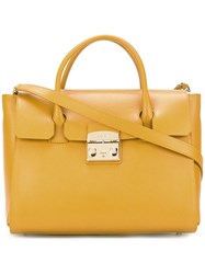 Furla Fold Over Tote Yellow Orange