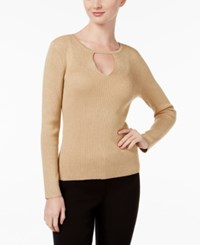 Inc International Concepts Petite Cutout Sweater Only At Macy's Gold