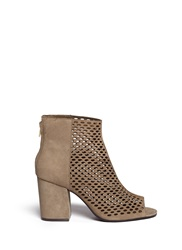 Ash 'Fancy Bis' Perforated Suede Peep Toe Ankle Boots Neutral