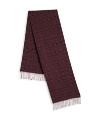 Saks Fifth Avenue Check Patterned Cashmere Fringed Scarf Blue Berry
