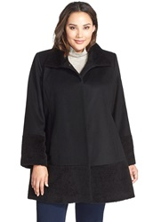 Kristen Blake Mixed Media Wool Blend A Line Coat Plus Size Black