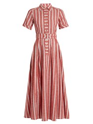 Gul Hurgel Short Sleeved Striped Cotton And Linen Blend Dress Red Stripe