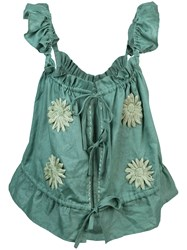 Innika Choo Embroidered Floral Top Green