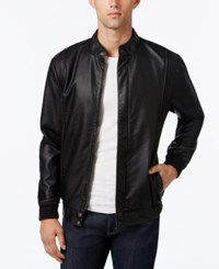 American Rag Men's Faux Leather Bomber Jacket Only At Macy's Deep Black