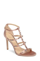Jewel Badgley Mischka Women's Adela Glittery Embellished Cage Sandal Dark Blush
