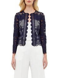Ted Baker Dalmay Lace Panel Cropped Jacket Navy