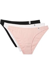 Les Girls Les Boys Set Of Three Ribbed Cotton Jersey Briefs Antique Rose