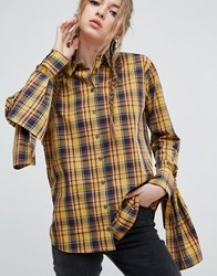 Asos Mustard Check Cotton Shirt With Extreme Tie Sleeves Mustard Check Multi