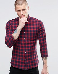 Asos Long Sleeve Skinny Shirt With Grid Check In Burgundy Burgundy Red