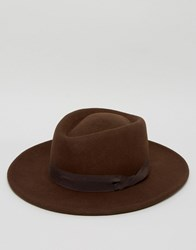 Asos Pork Pie Hat In Chocolate With Twisted Band Brown