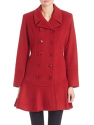 Sofia Cashmere Double Breasted Wool And Coat Red