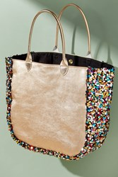 Anthropologie Sequin Embellished Leather Tote Pink