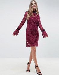 Hope And Ivy Shift Lace Dress Red