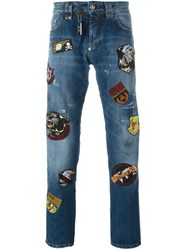 Philipp Plein Patched Jeans Blue