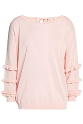 Claudie Pierlot Ruffle Trimmed Knitted Top Pastel Pink