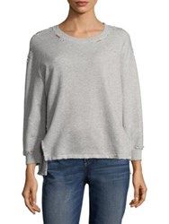 Amo Distressed Cotton Sweatshirt Heather Grey