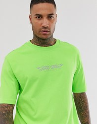 Bershka T Shirt With Chest Print In Green