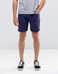 Asos Denim Shorts In Stretch Slim Navy Evening Blue