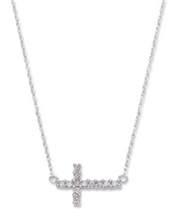 Macy's Diamond Sideways Cross Pendant Necklace In 14K White Gold 1 8 Ct. T.W.