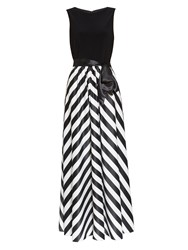 Gina Bacconi Jersey Bodice Satin Stripe Maxi Dress Black