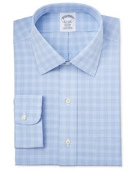 Brooks Brothers Regent Men's Classic Fit Non Iron Light Blue Plaid Dress Shirt