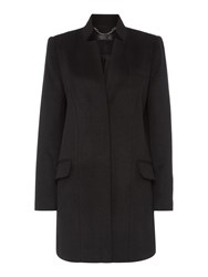 Label Lab Stand Collar Single Breasted Coat Black