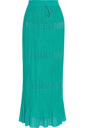 M Missoni Crochet Knit Cotton Blend Maxi Skirt Green