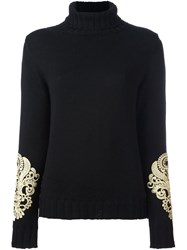 P.A.R.O.S.H. Embroidered Turtleneck Sweater Black