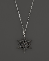 Kc Designs Black Diamond Starburst Pendant Necklace In 14K White Gold 18 Black White