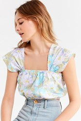 Urban Renewal Recycled Laura Ashley Floral Cropped Top Cream