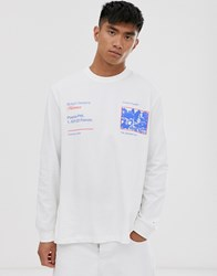 Asos White Loose Fit Heavyweight Long Sleeve T Shirt With Graphic Print