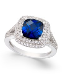Macy's Lab Created Sapphire 2 1 2 Ct. T.W. And White Sapphire 1 2 Ct. T.W. Ring In Sterling Silver