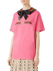 Gucci Logo Print T Shirt With Removable Sequin Embroidered Collar Pink