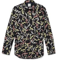 Paul Smith Slim Fit Floral Print Cotton Poplin Shirt Navy