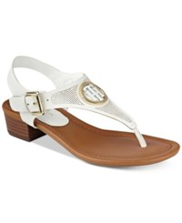 Tommy Hilfiger Kandes Block Heel Thong Sandals Women's Shoes White