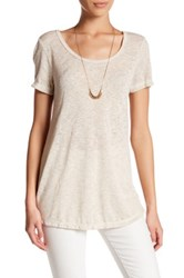 Bobeau Scoop Neck Short Sleeve Tee Beige